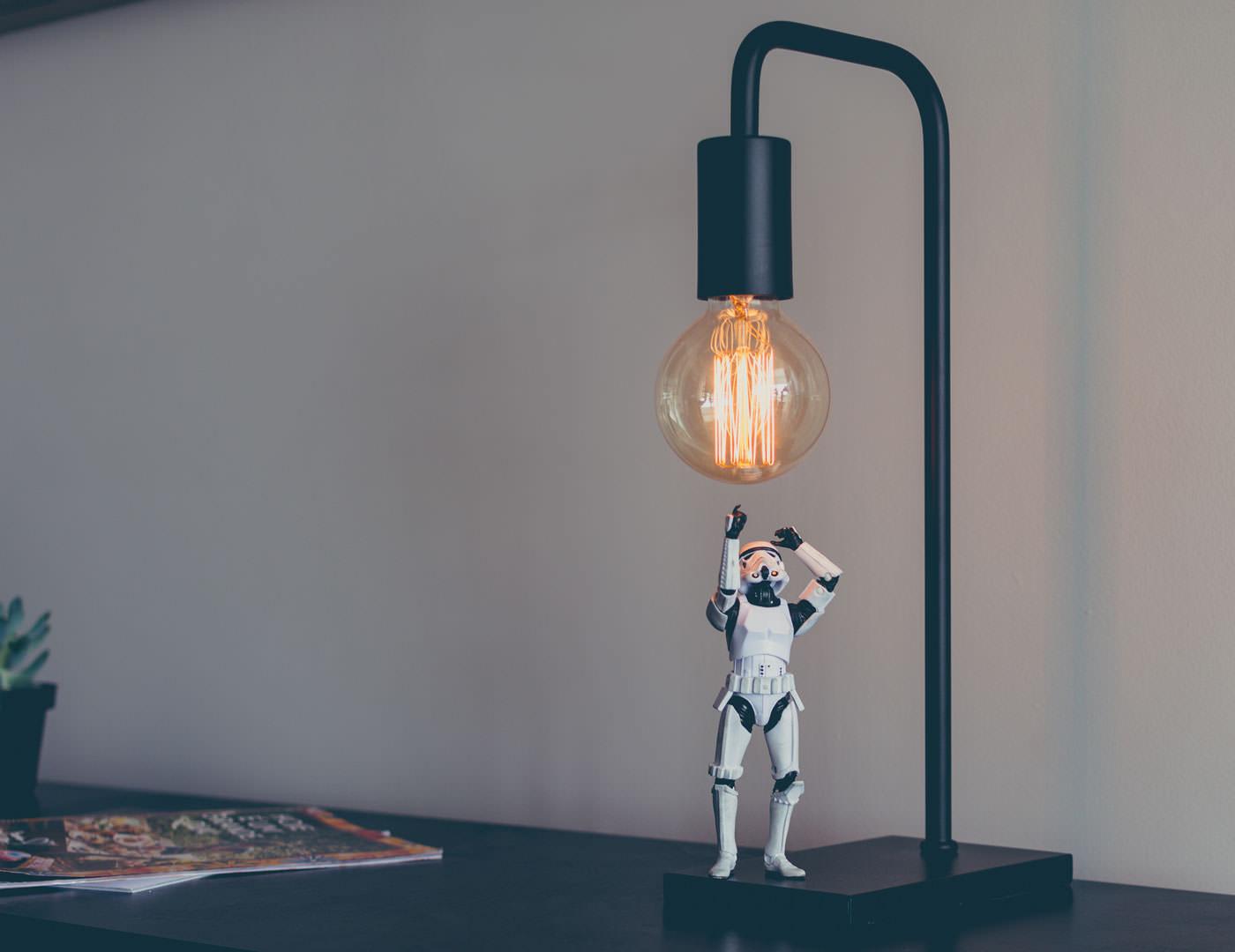 Stormtrooper under lightbulb